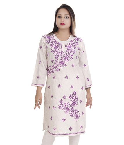 Ethnava Hand Embroidered Cotton Lucknowi Chikankari Casual Kurti
