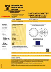 CVD Diamond 1.58ct I VS1 Round Brilliant Cut IGI Certified Stone