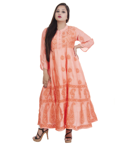 Ethnava Hand Embroidered Apple Silk Lucknowi Chikankari Anarkali Kurti