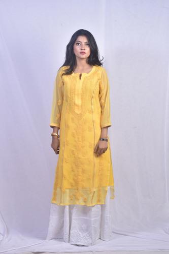 Georgette Lucknowi Chikankari Kurti