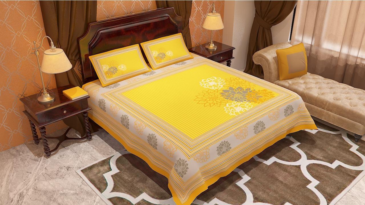 Jaipur Print Exclusive Floral Design Bedsheet
