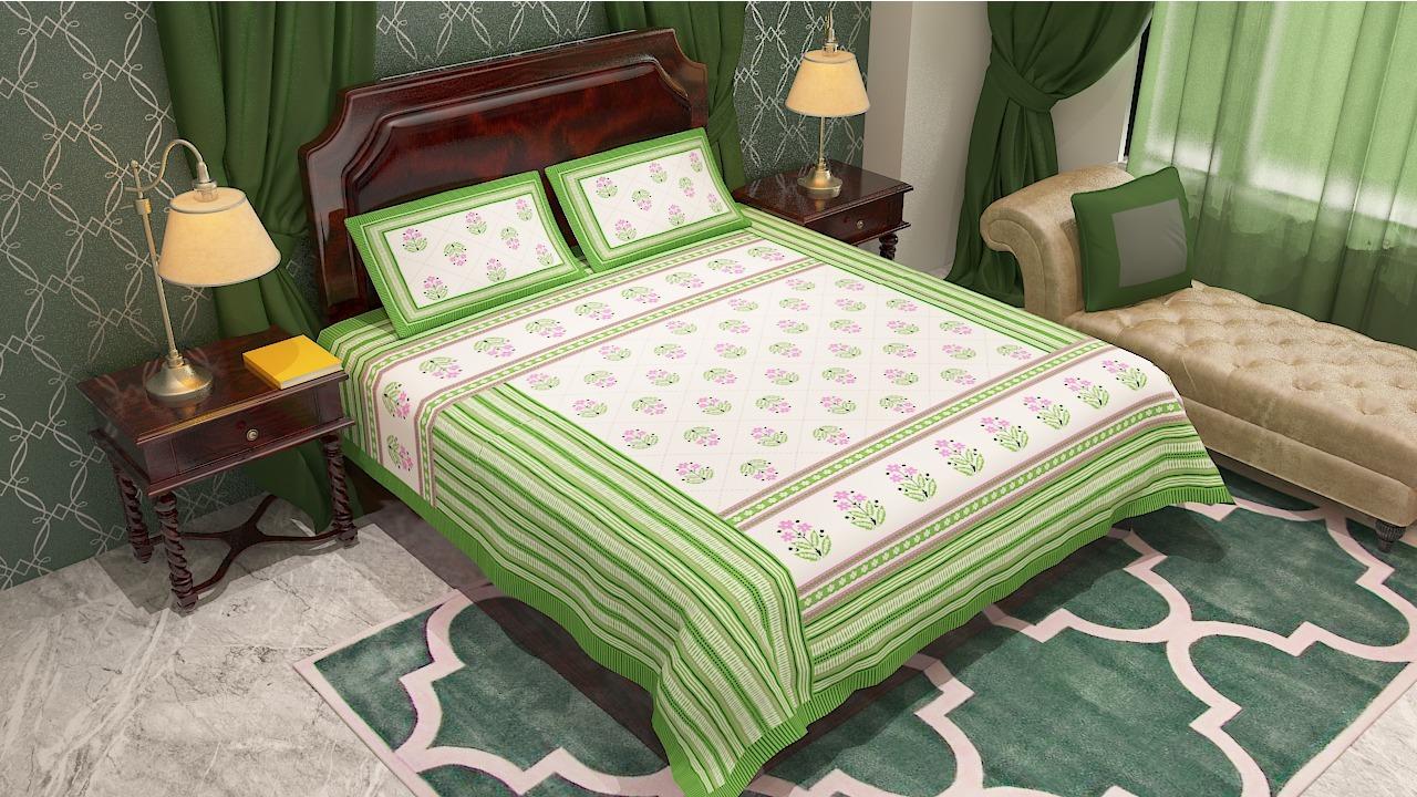 Jaipur Printed Flower Design Bedsheet