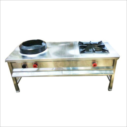 Stainless Steel Two Burner Chinese Cooking Range