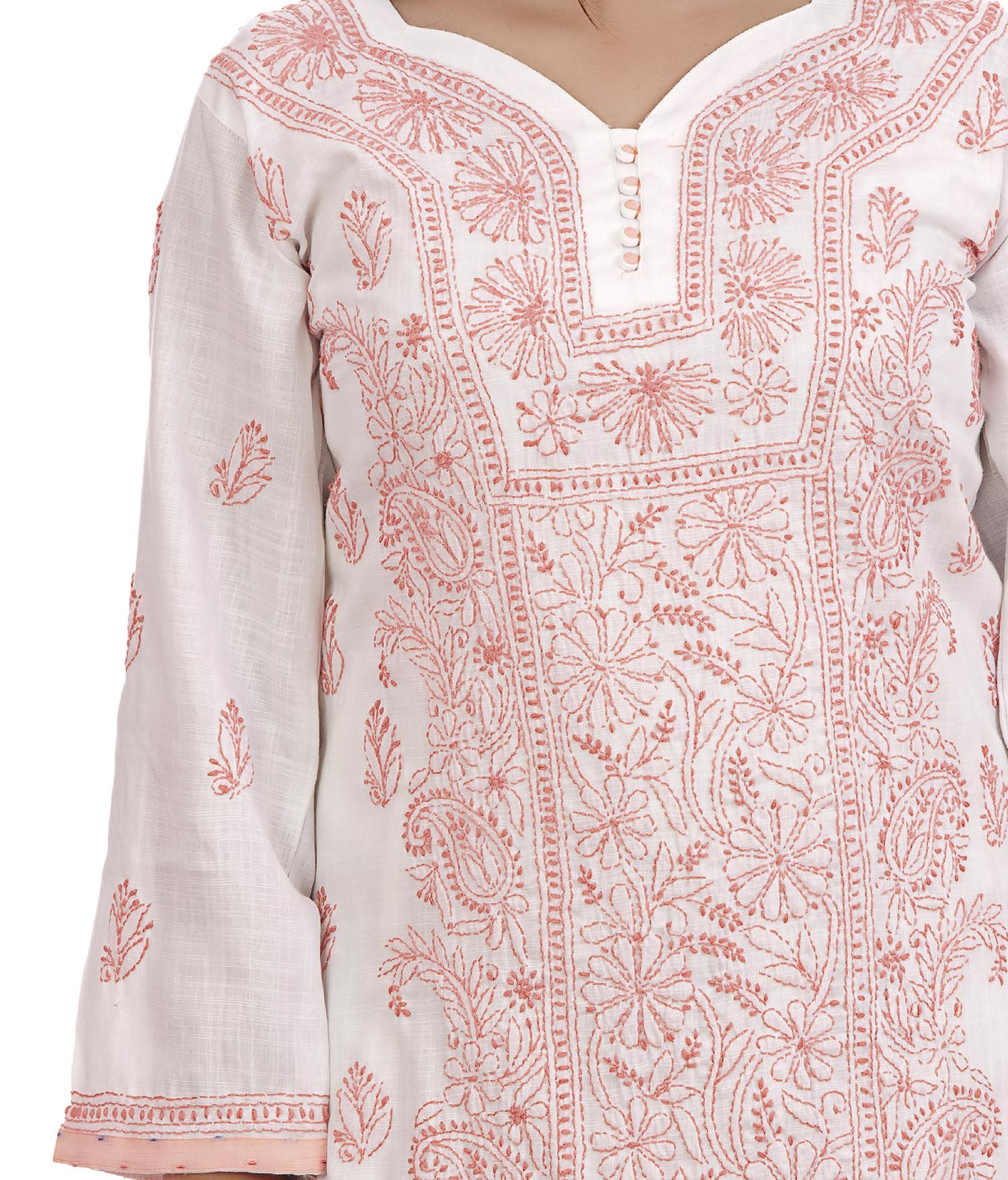 Ethnava Hand Embroidered Rayon Slub Lucknowi Chikankari Straight Kurti