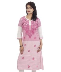 Ethnava Hand Embroidered Khadi Cotton Straight Lucknowi Chikan Kurti
