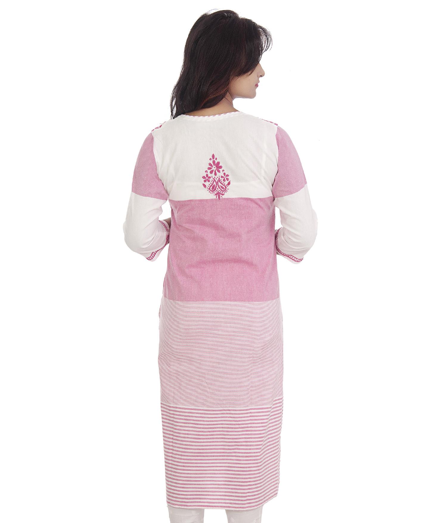 Ethnava Hand Embroidered Khadi Cotton Straight Lucknowi Chikan Kurti