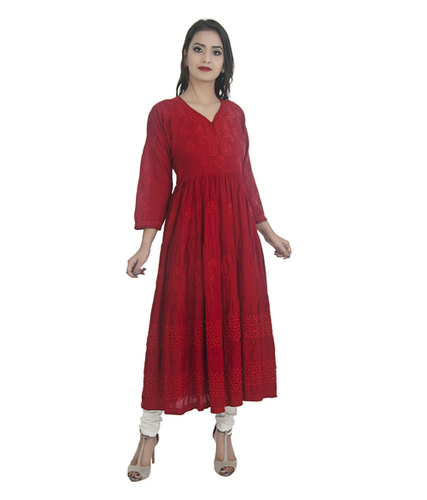 Ethnava Hand Emboidered Cotton Flared Lucknowi Chikan Kurti