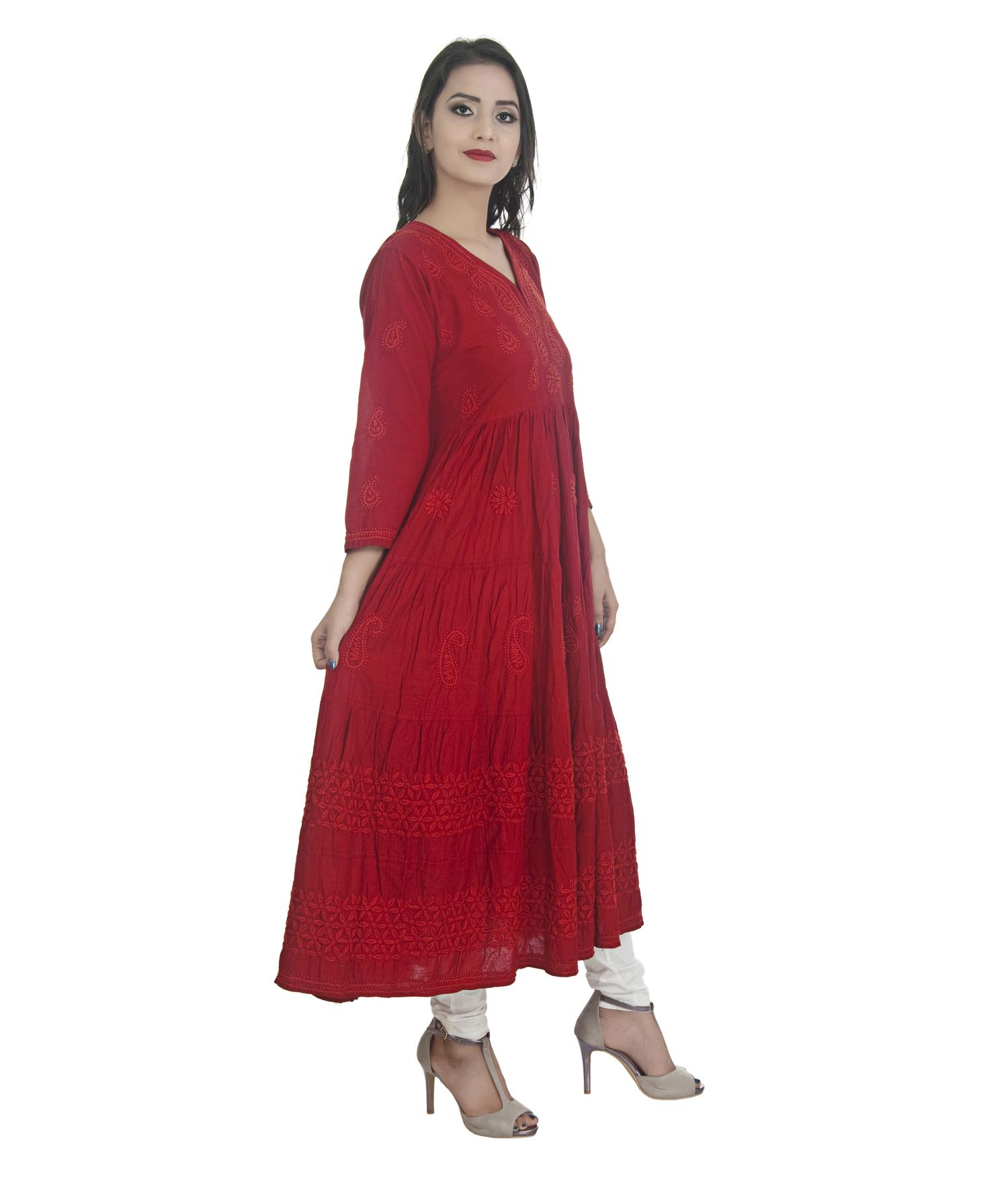 Ethnava Hand Emboidered Cotton Flared Lucknowi Chikan Kurti