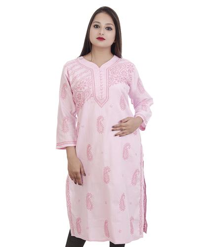 Ethnava Hand Embroidered Muslin Cotton Straight Lucknowi Chikan Kurti