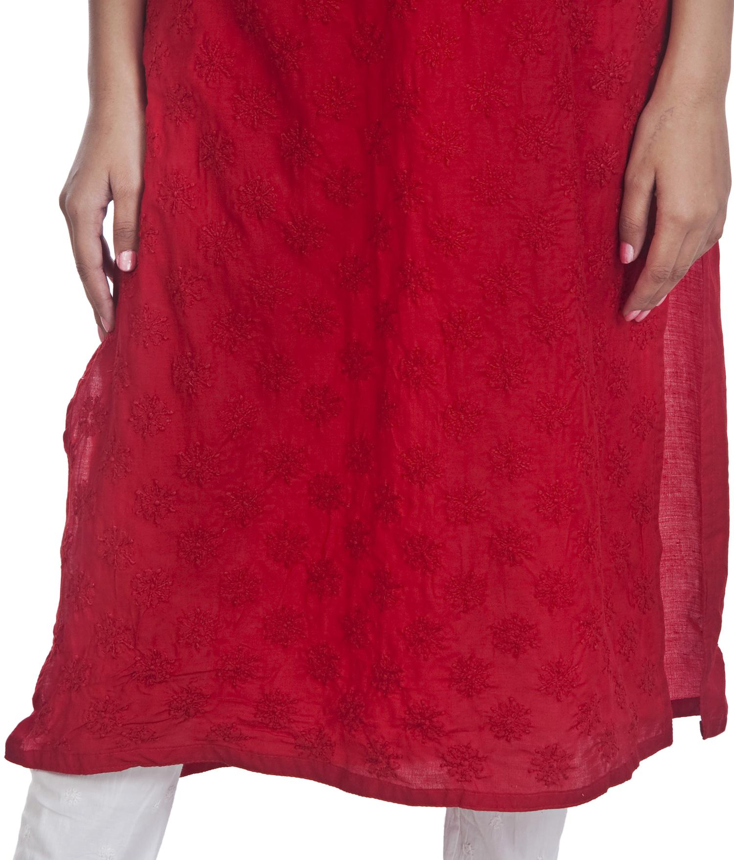 Ethnava Hand Emboridered Muslin Cotton Lucknowi Chikan Kurti