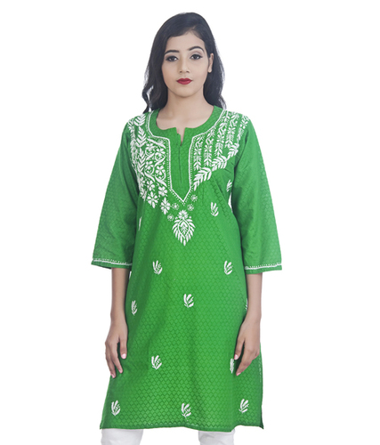 Ethnava Hand Embroidered Jacquard Cotton Lucknowi Chikankari Straight Kurti