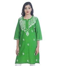 Ethnava Hand Embroidered Jacquard Cotton Lucknowi Chikankari Straight Kurti