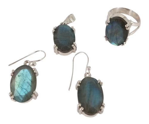 Labradorite 925 Silver Gemstone Jewelry Set