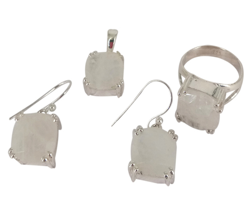 Rainbow Moonstone 925 Silver Gemstone Jewelry Set