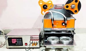 Automatic Cup Sealer  ( Double Head ) with Liquid Filler ( d)