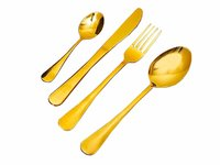 26pcs Gold Plated Classic Cutlery Set Dinner Spoon Knives Fork Set Stainless Steel Tableware Dinner Set:, Gold