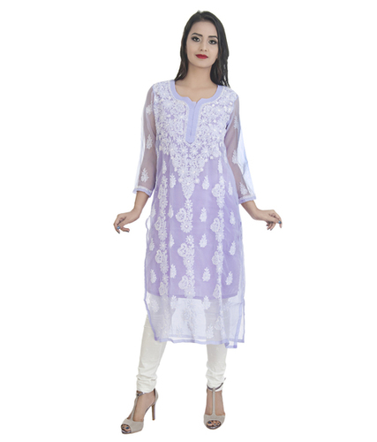 Hand Embroidered Georgette Lucknowi Chikan Kurti