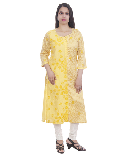 Ethnava Hand Embroidered Sattin Cotton Lucknowi Chikan Kurti