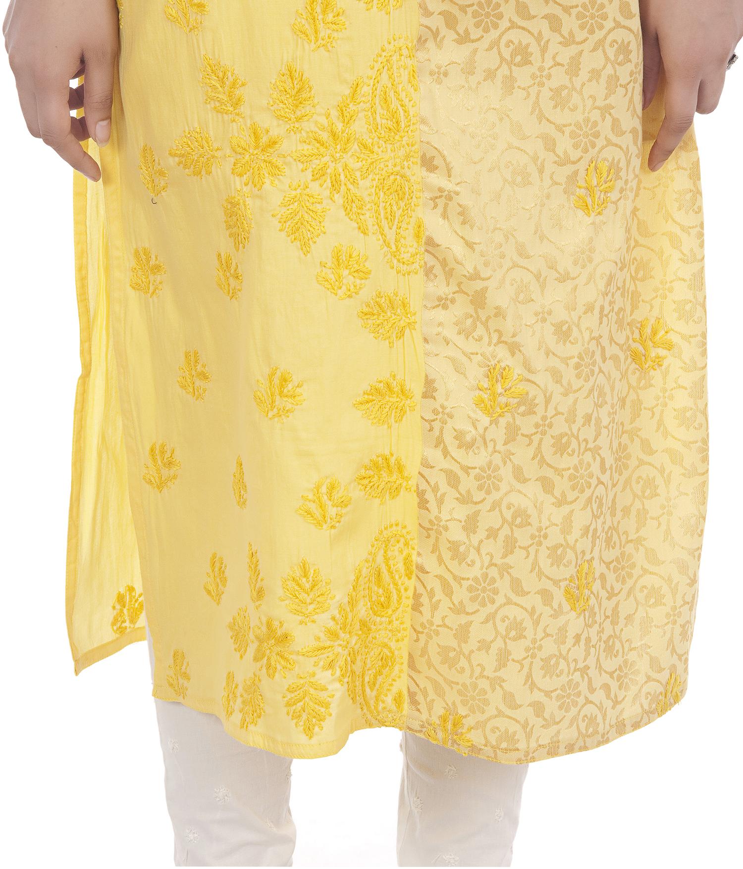 Ethnava Hand Embroidered Sattin Cotton Lucknowi Chikan Kurti