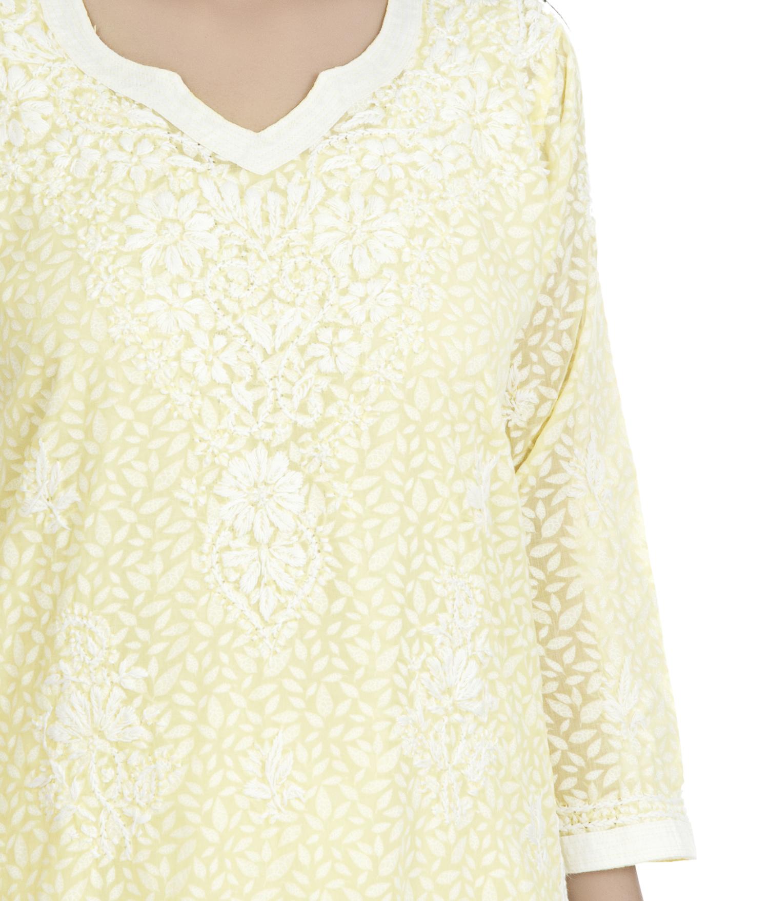Ethnava Hand Embroidered Cotton Lucknowi Chikankari Straight Kurti