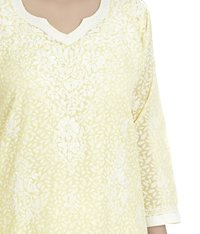 Ethnava Hand Embroidered Cotton Lucknowi Chikankari Straight Kurti