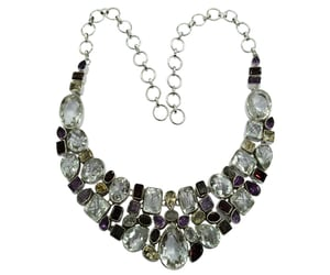 Glamorous Multi Color 925 Silver Gemstone Necklace