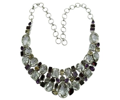 Glamorous Multi Color 925 Silver Gemstone Necklace Weight: 105.4 Grams (G)