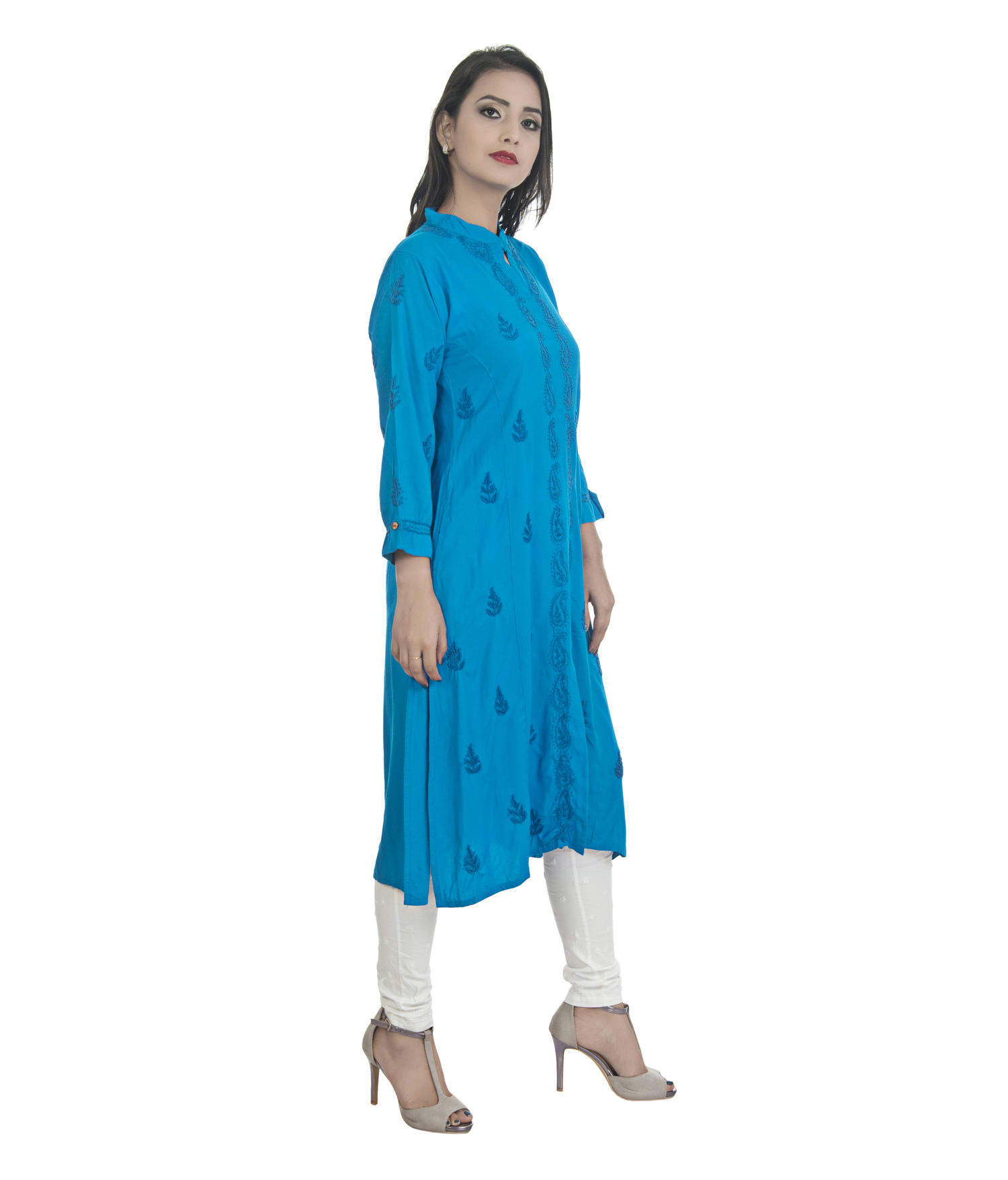 Ethnava Hand Embroidered Rayon Front Slit Lucknowi Chikan Kurti