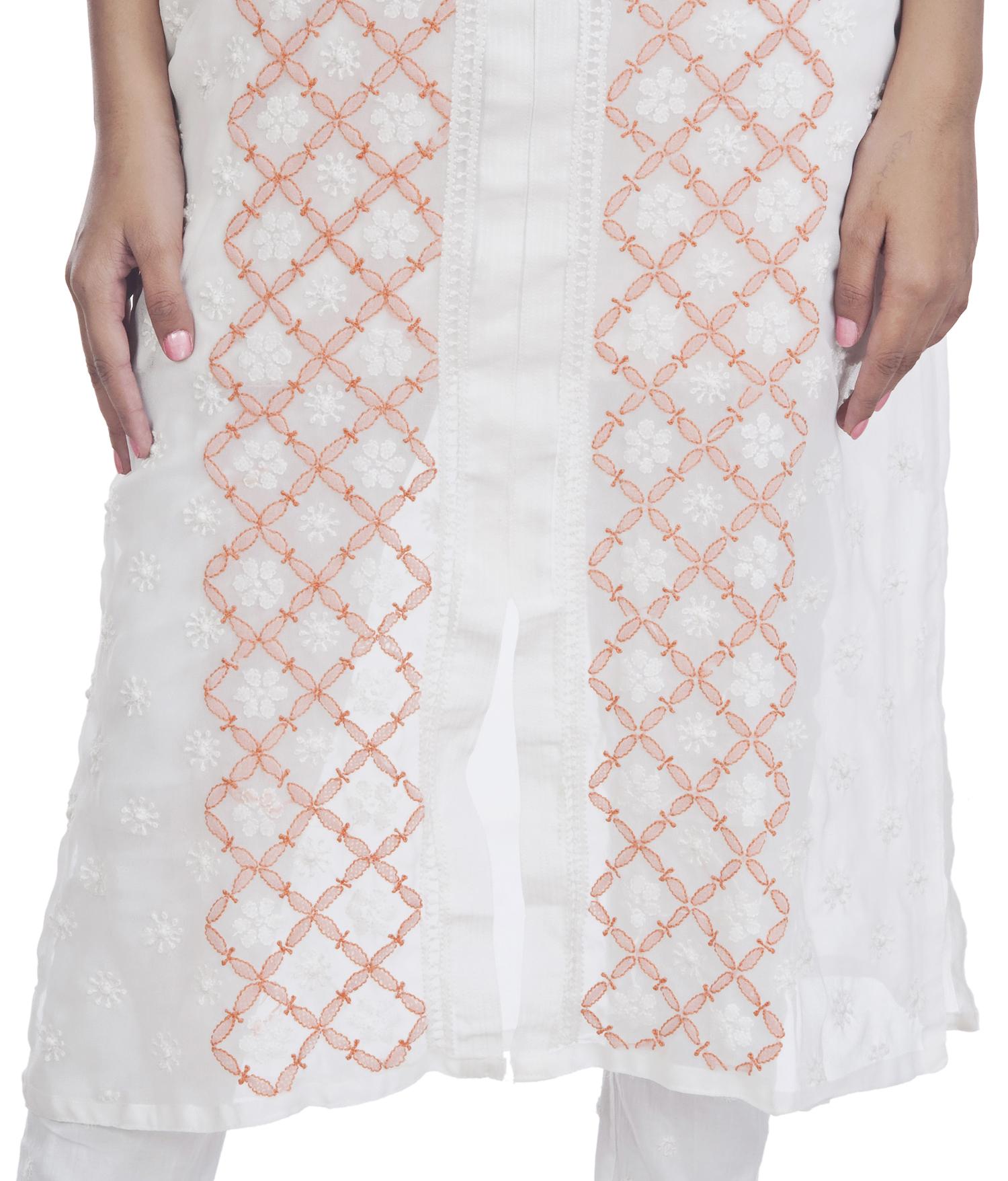 Ethnava Hand Embroidered Georgette Frontslit Lucknowi Chikan Kurti