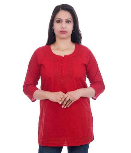 Ethnava Hand Embroidered Cotton Straight Lucknowi Chikan Short Top