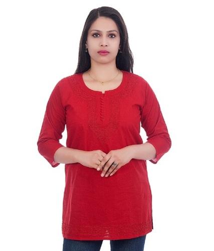 Ethnava Hand Embroidered Cotton Straight Lucknowi Chikan Short Top