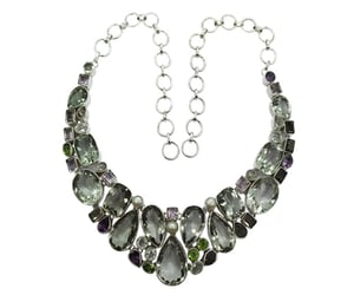 Fashionable Multi-Color 925 Silver Gemstone Necklace