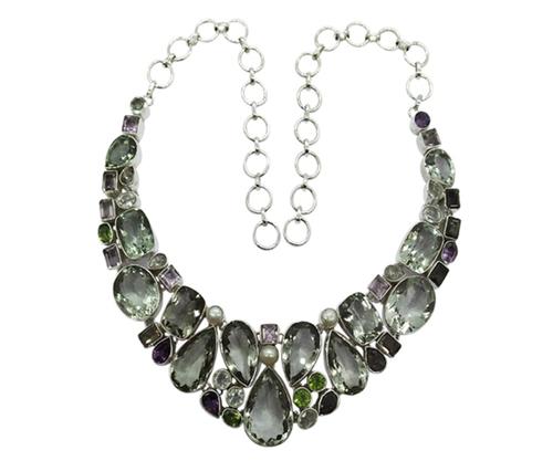 Multi Fashionable Multi-Color 925 Silver Gemstone Necklace