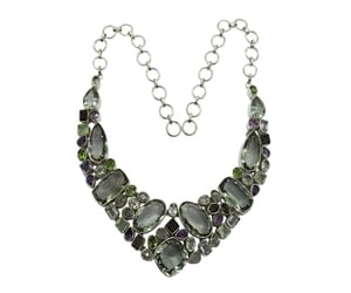 Fabulous Multi Color 925 Silver Gemstone Necklace