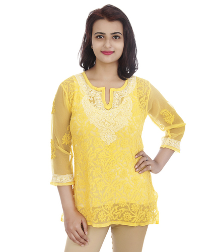 Ethnava Hand Embroidered Georgette Lucknowi Chikan Short Top