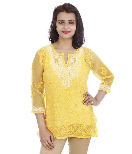 Georgette Lucknowi Chikan Short Top