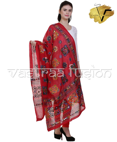 Ladies Cotton Embroidered Chakachak Aari Kutch Dupatta