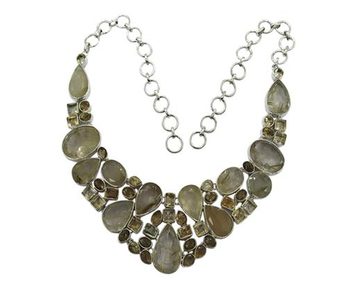 Glitzy Multi-Color 925 Silver Gemstone Necklace