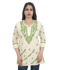 Ethnava Hand Embroidered Cotton Luknowi Chikan Short Top