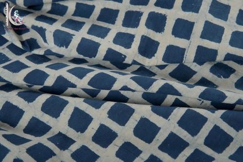 Checks Print Indigo Blue Fabric