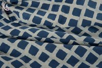 Checks Print Indigo Blue Fabric