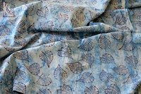 Leaf Print Indigo Blue Fabric