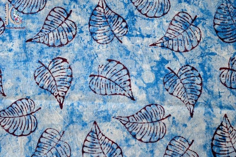 Leaf Print Indigo Blue Fabric