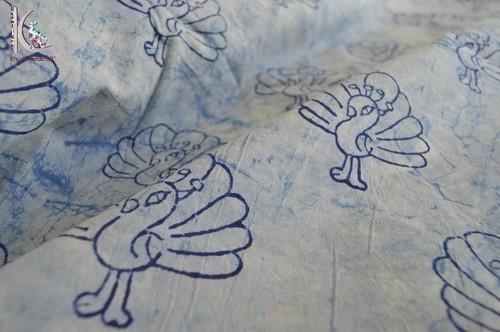 Indigo Blue Peacock Printed Fabric