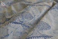 Tree Of Life Print Indigo Blue Fabric