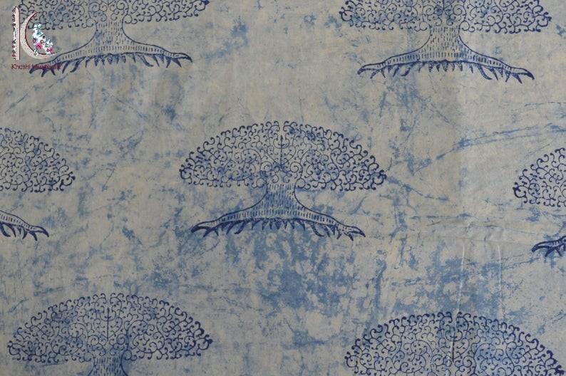 Tree Of Life Print Indigo Blue Fabric