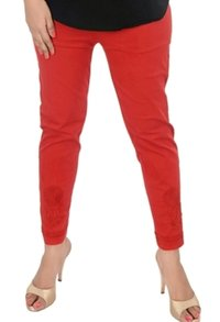Ethnava Hand Embroidered Red Cotton Lycra Pant