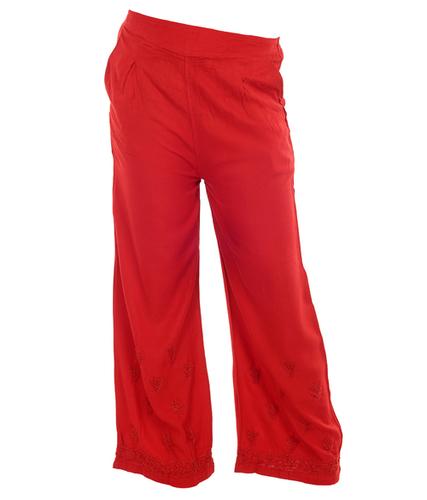 Ethnava Rayon Free Size Regular Fit Ghaas Patti Red Plazzo