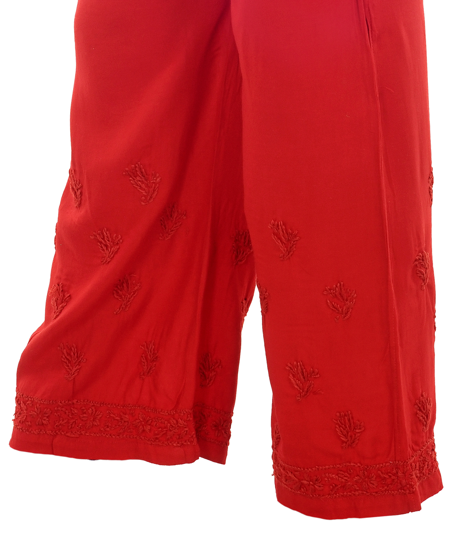 Ethnava Rayon Free Size Regular Fit Ghaas Patti Red Plazzo