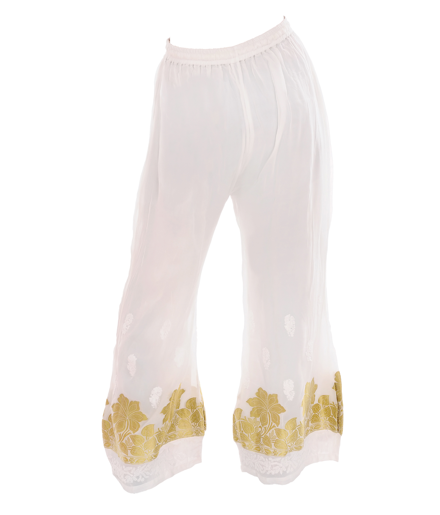 Ethnava Viscose Free Size Regular Fit White Plazzo With Golden Floral Ptint